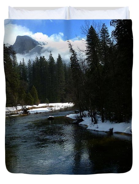 Winter Half Dome And The Merced River Duvet Cover by Jeff Lowe