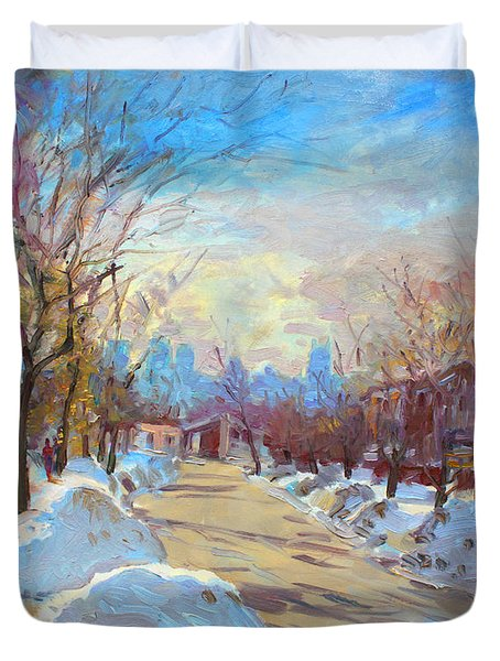 Winter In Silverado Dr Mississauga On Duvet Cover by Ylli Haruni