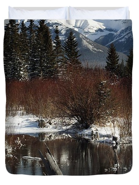 Winter Over Vermilion Lake, Banff Duvet Cover by Michael Interisano