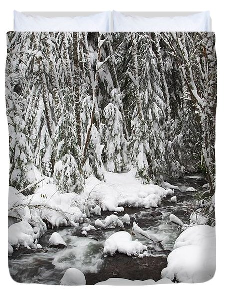 Winter Snow Along Still Creek In Mt Duvet Cover by Craig Tuttle
