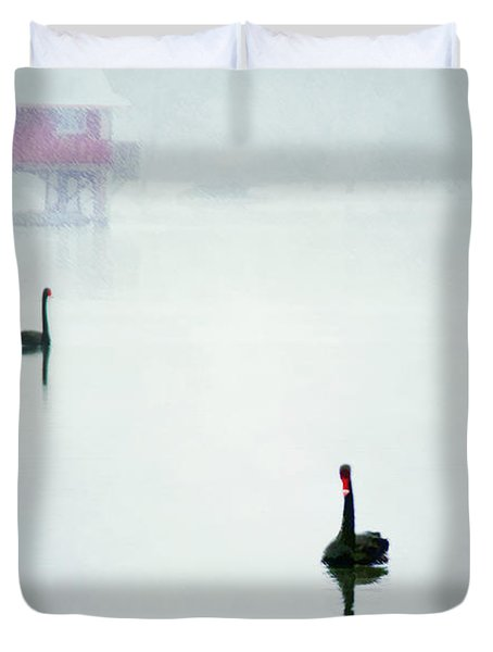 Winter Swans Duvet Cover by Darren Fisher