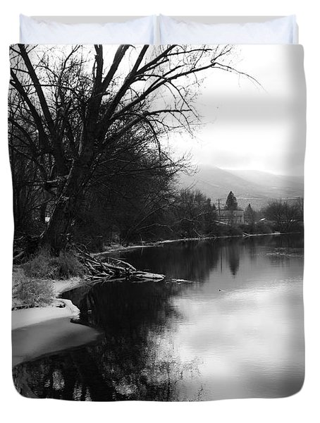 Winter Tree Reflection - Black and White Duvet Cover by Carol Groenen
