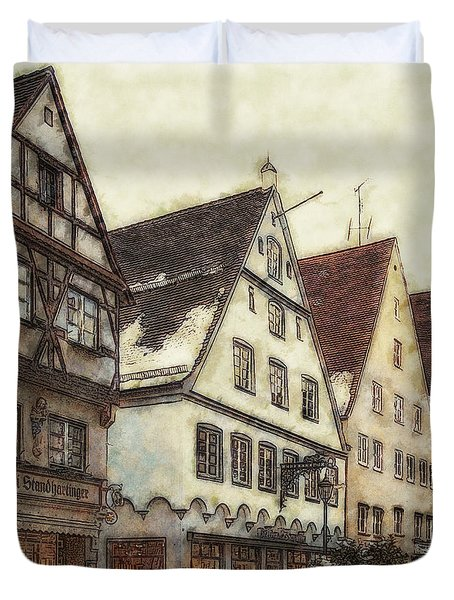 Winterly Old Town Duvet Cover by Jutta Maria Pusl