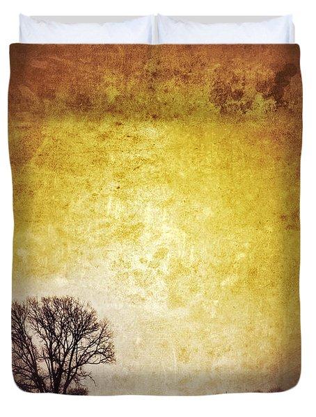 Wintery Road Sunrise Duvet Cover by Jill Battaglia