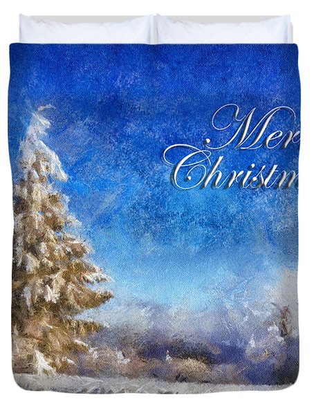 Wintry Christmas Tree Greeting Card Duvet Cover by Lois Bryan