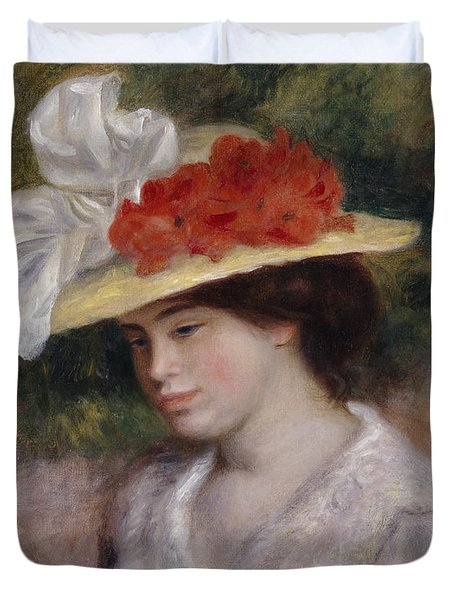 Woman In A Flowered Hat Duvet Cover by Pierre Auguste Renoir