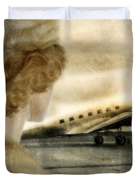 Woman In Fur By A Vintage Airplane Duvet Cover by Jill Battaglia
