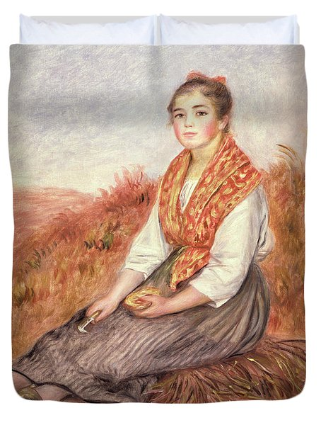 Woman With A Bundle Of Firewood Duvet Cover by Pierre Auguste Renoir