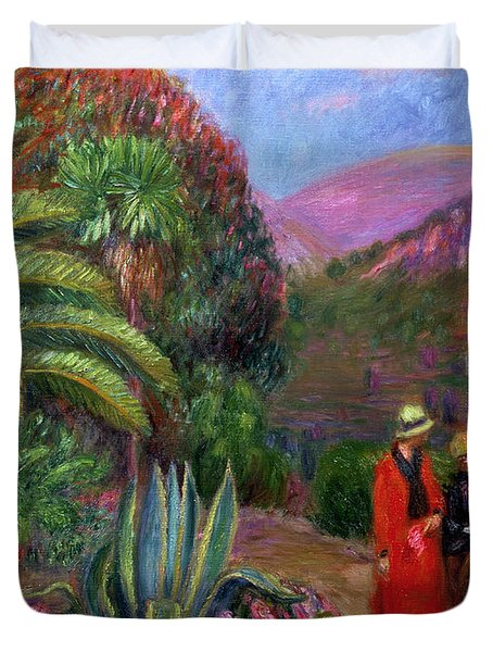 Woman With Child On A Donkey Duvet Cover by William James Glackens