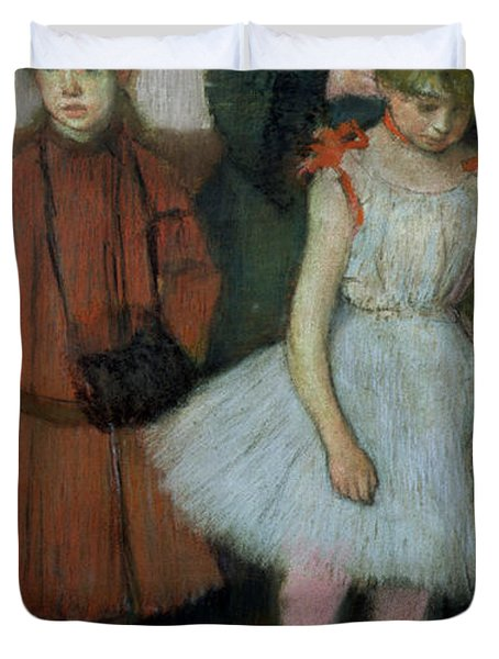 Woman With Two Little Girls Duvet Cover by Edgar Degas