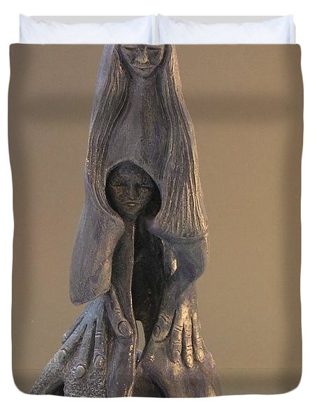 Womb Ceramics Sculpture  In Grey Woman And Child In Her Womb Large Hands Long Hair   Duvet Cover by Rachel Hershkovitz