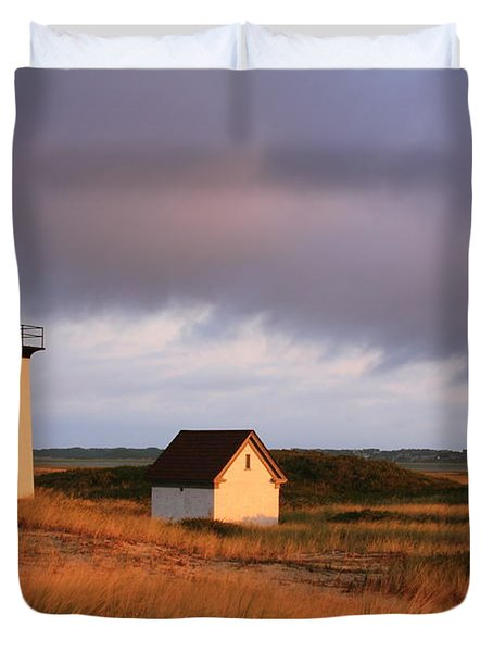 Wood End Lighthouse Landscape Duvet Cover by Roupen  Baker