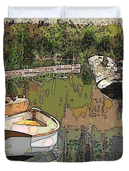 Wooden Boat Placid Duvet Cover by Tim Allen