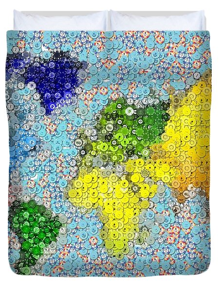 World Map Poker Chips Mosaic Duvet Cover by Paul Van Scott