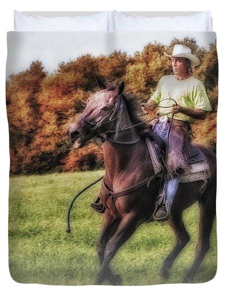 Wrangler And Horse Duvet Cover by Susan Candelario