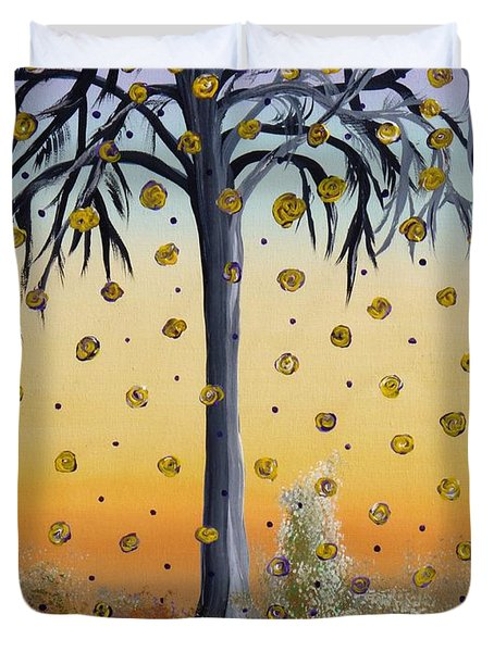 Yellow-blossomed Wishing Tree Duvet Cover by Alys Caviness-Gober