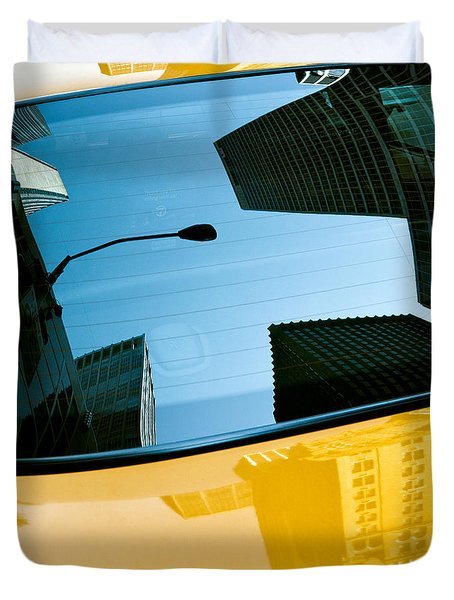 Yellow Cab Big Apple Duvet Cover by Dave Bowman