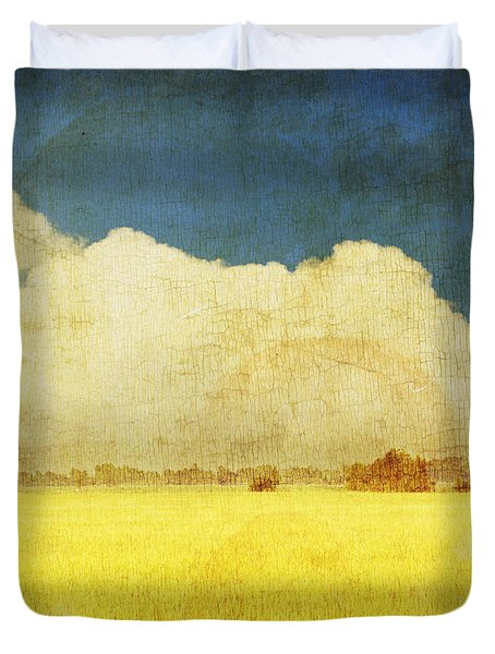 Yellow field Duvet Cover by Setsiri Silapasuwanchai