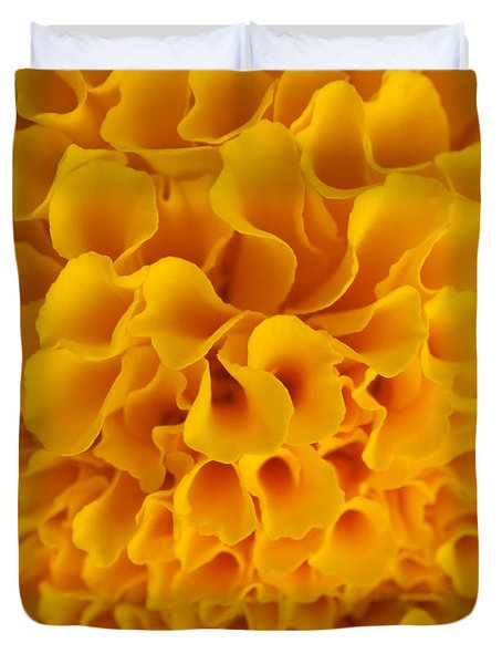 Yellow Marigold Macro View Duvet Cover by Atiketta Sangasaeng