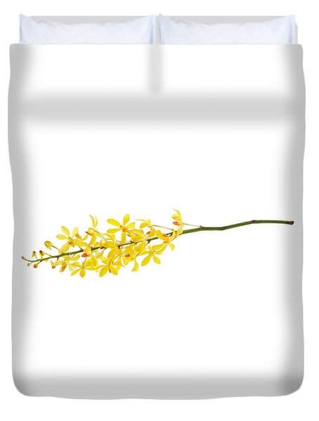 Yellow Orchid Bunch Duvet Cover by Atiketta Sangasaeng