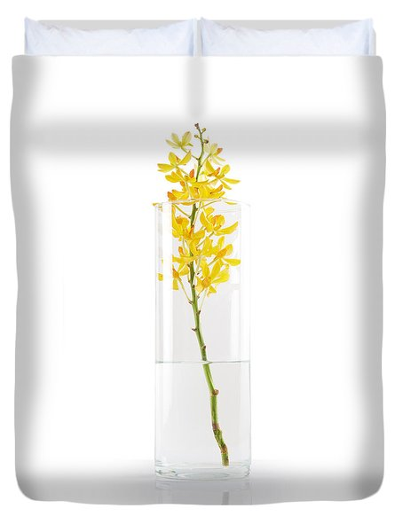 Yellow Orchid In Vase Duvet Cover by Atiketta Sangasaeng