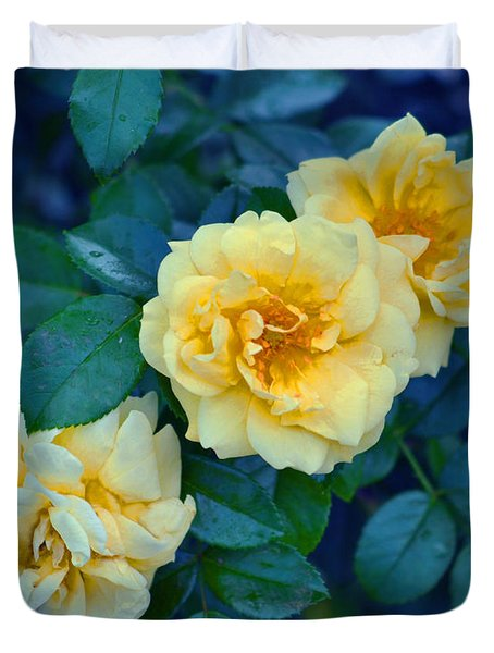 Duvet Cover featuring the photograph Yellow Roses by Rodney Campbell