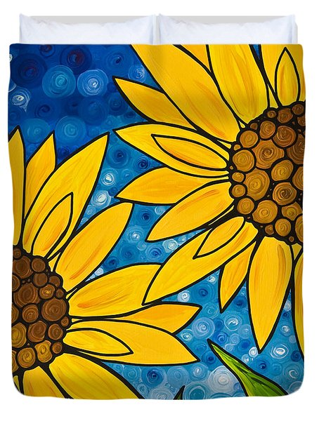 Yellow Sunflowers Duvet Cover by Sharon Cummings