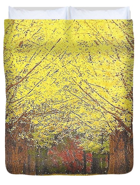 Yellow Trees Duvet Cover by Kume Bryant