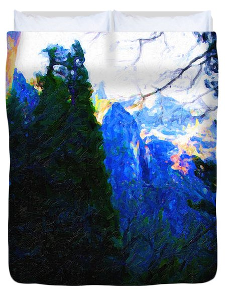 Yosemite Snow Mountain Tops . Vertical Cut Duvet Cover by Wingsdomain Art and Photography