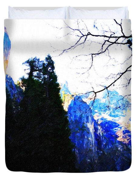 Yosemite Snow Top Mountains Duvet Cover by Wingsdomain Art and Photography