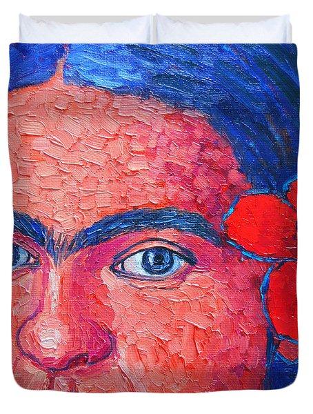 Young Frida Kahlo Duvet Cover by Ana Maria Edulescu