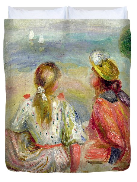Young Girls On The Beach Duvet Cover by Pierre Auguste Renoir