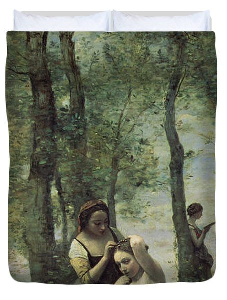 Young Woman At Her Toilet Duvet Cover by Jean Baptiste Camille Corot