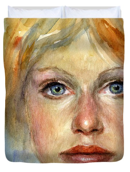 Young Woman Watercolor Portrait Painting Duvet Cover by Svetlana Novikova