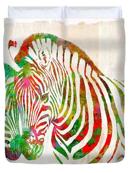 Zebra Lovin Duvet Cover by Nikki Marie Smith