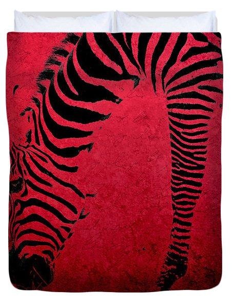 Zebra On Red Duvet Cover by Aimelle