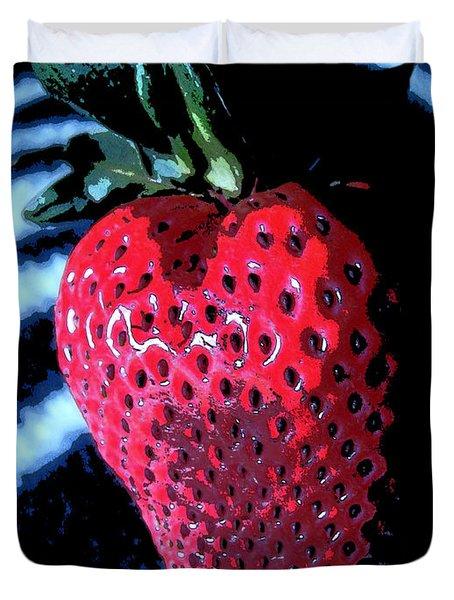 Zebra Strawberry Duvet Cover by Kym Backland