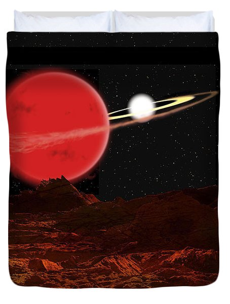 Zeta Piscium Is A Binary Star System Duvet Cover by Ron Miller