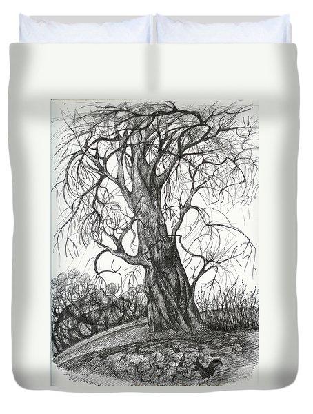 Autumn Dancing Tree Duvet Cover by Anna  Duyunova