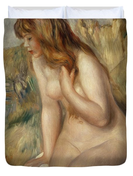 Bather Seated On A Rock Duvet Cover by Pierre Auguste Renoir