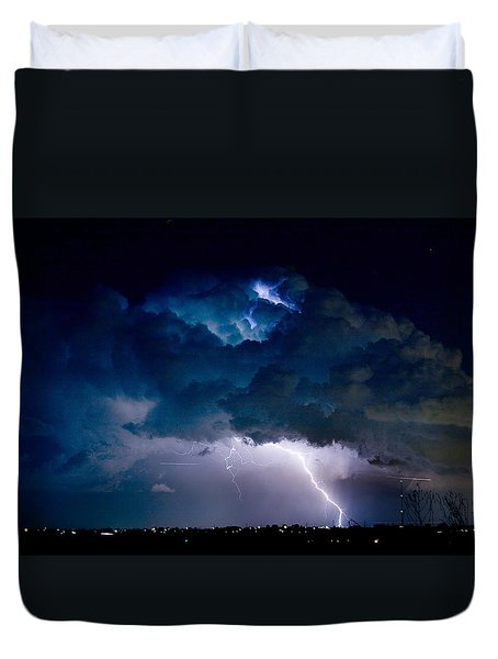 Clouds of Light Lightning Striking Boulder County Colorado Duvet Cover by James BO  Insogna