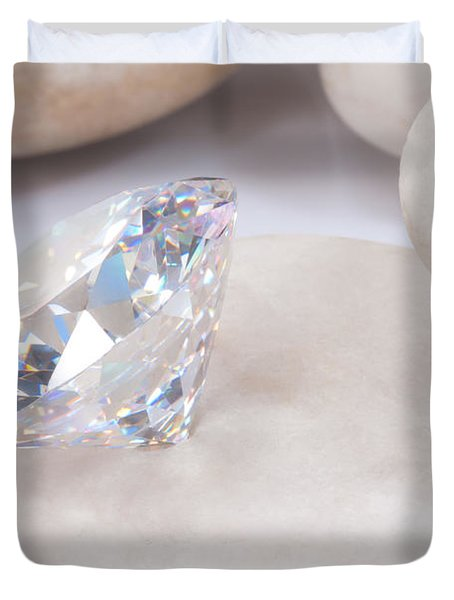 diamond on white stone Duvet Cover by ATIKETTA SANGASAENG