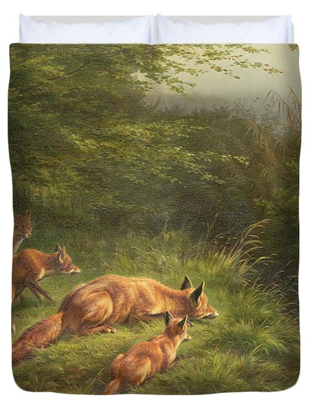 Foxes Waiting For The Prey   Duvet Cover by Carl Friedrich Deiker
