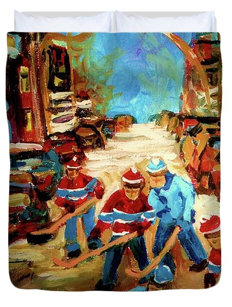Hockey Paintings Of Montreal St Urbain Street Winterscene Duvet Cover by Carole Spandau