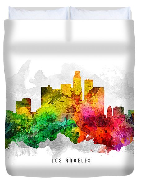 Los Angeles California Cityscape 12 Duvet Cover by Aged Pixel