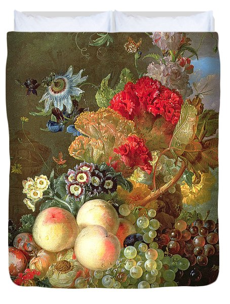 Still Life With Auriculus  Duvet Cover by Gerrit Van Leeuwen