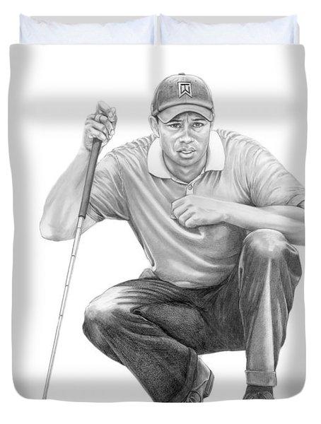 Tiger Woods Crouching Tiger Duvet Cover by Murphy Elliott