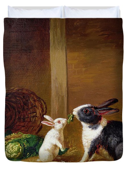 Two Rabbits Duvet Cover by H Baert