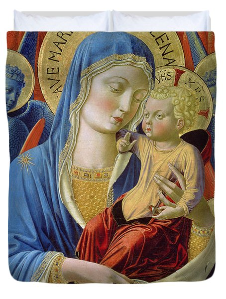 Virgin And Child With Angels Duvet Cover by Benozzo di Lese di Sandro Gozzoli