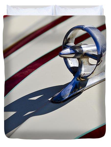 1949 Custom Buick Hood Ornament Duvet Cover by Jill Reger